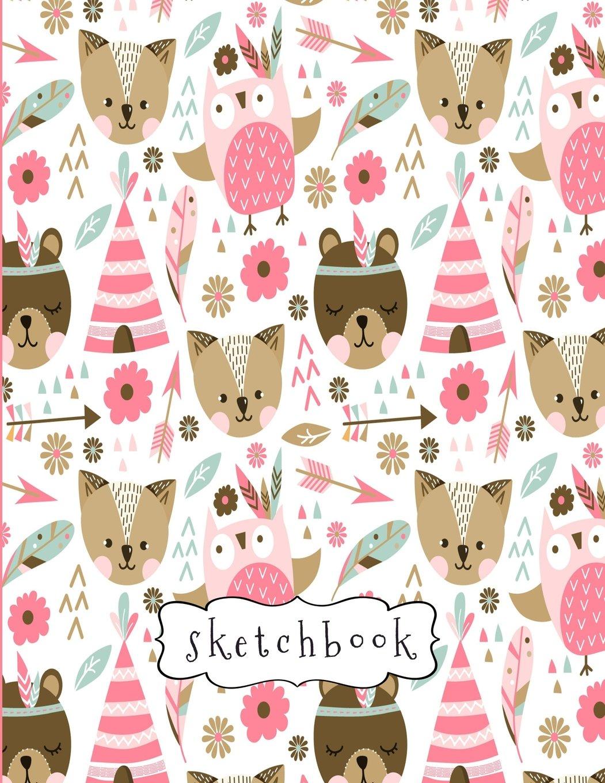 Sketchbook: Cute Pink Animal Pattern Sketchbook, 8.5