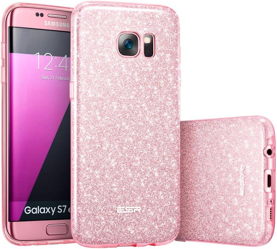 ESR Coque pour Galaxy S7 Edge Rose, Coque Silicone Paillette Strass Brillante Bling Bling Glitter de Luxe, Bumper Housse Etui de Protection pour ...