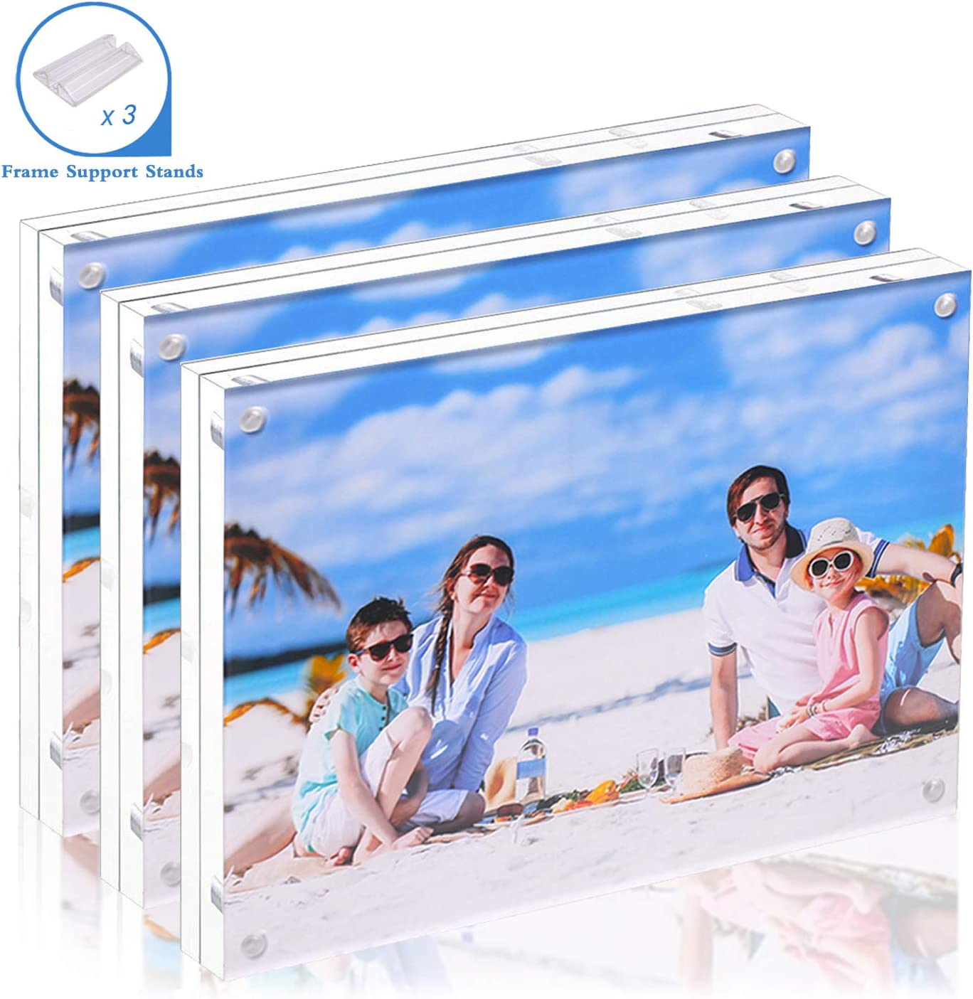 Acrylic Photo Frame 5x7-3 Pack Clear Double Sided Magnetic Picture Frameless Desktop Display with Photo Frame Support Stand Best Gift for Family, Baby, Document Photo Frames- Free Soft Microfiber