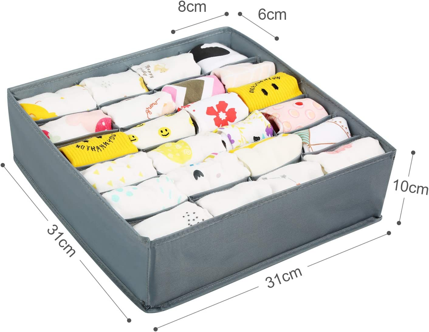 Bufandas Corbatas 2 Pcs Plegable Organizador de Ropa Interior Sostenes LinStyle Organizador Cajones 24 Compartimentos Organizador Calcetines para Almacenar Calcetines