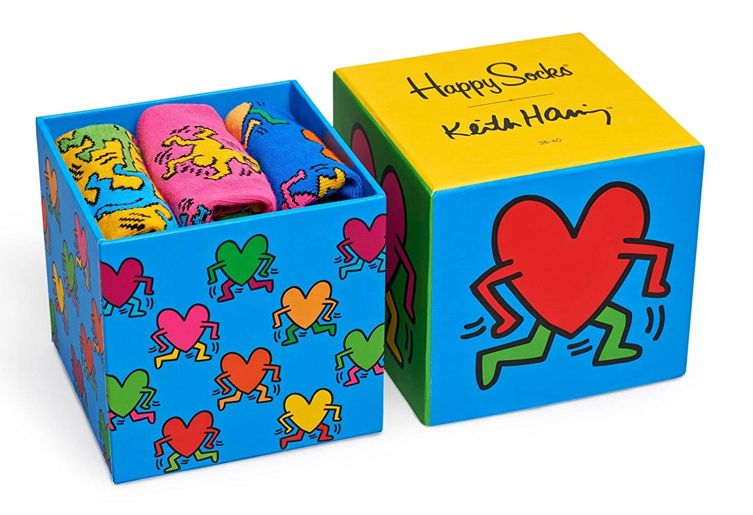 Happy Socks Keith Haring Sock Box Set, Calzini Uomo, (Rot 4000), Taglia Unica(Pacco da 3) XKEH08