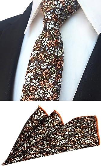 Lot 6 Packs Mens Hanky Neck Tie Set Floral Skinny Necktie Pocket Square For Suit