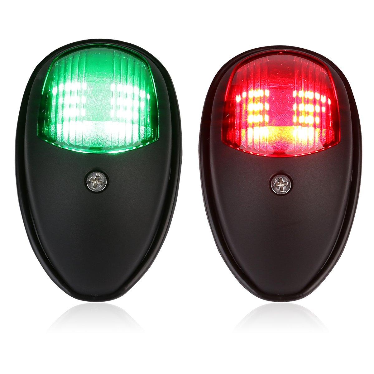 Boat Navigation Lights, LEANINGTECH One Pair Marine LED Navigation Lamp Red & Green LED for Chandlery Boat Yacht Pontoon Skeeter Touring Car Safety Lights Deck Mount DC 12V-24V (Black)