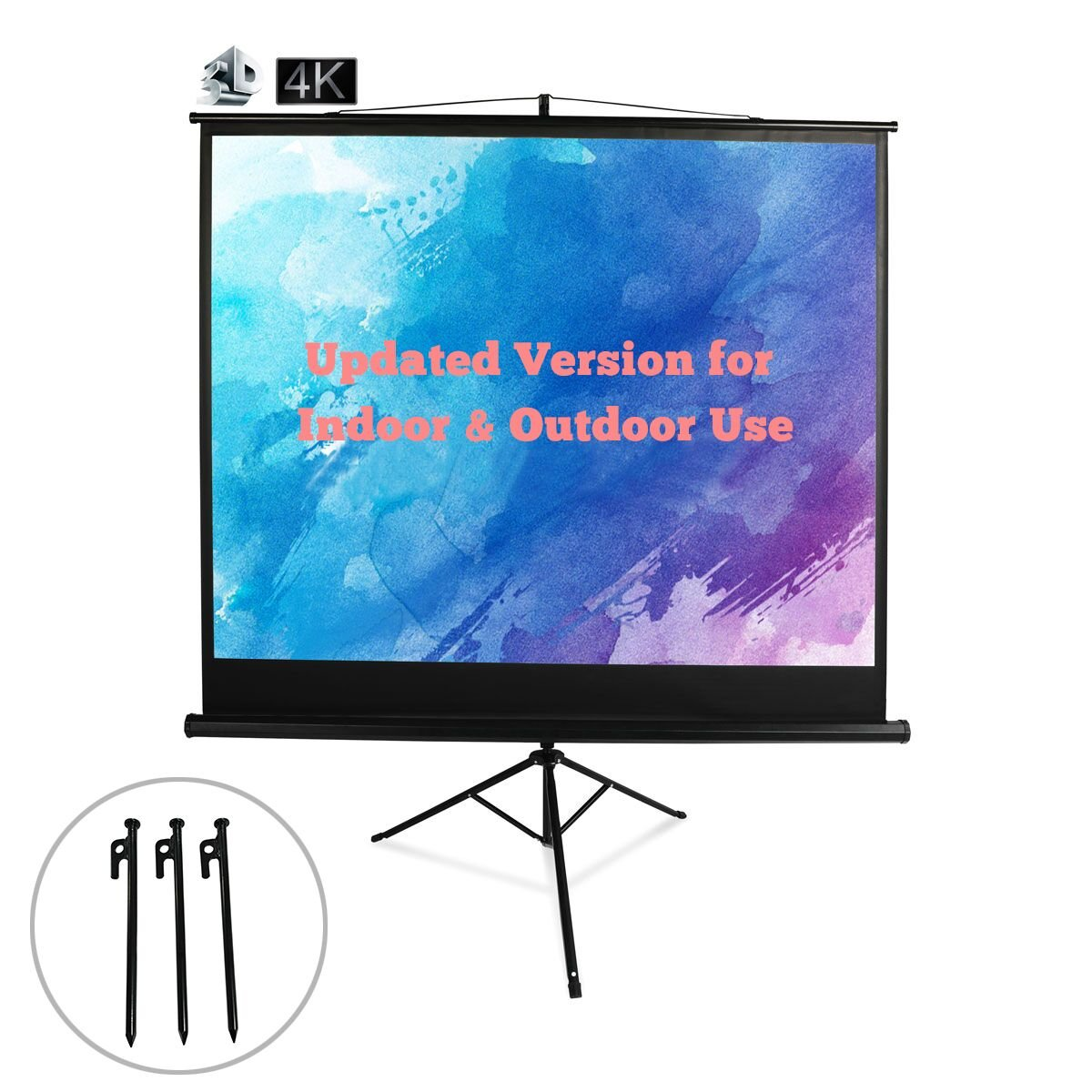 84'' Portable Projector Screen with Stand, for Both Outdoor Projection Screen and Office School Presentation Projection Screen, 84 inch Diagonal, 4:3, Black Frame