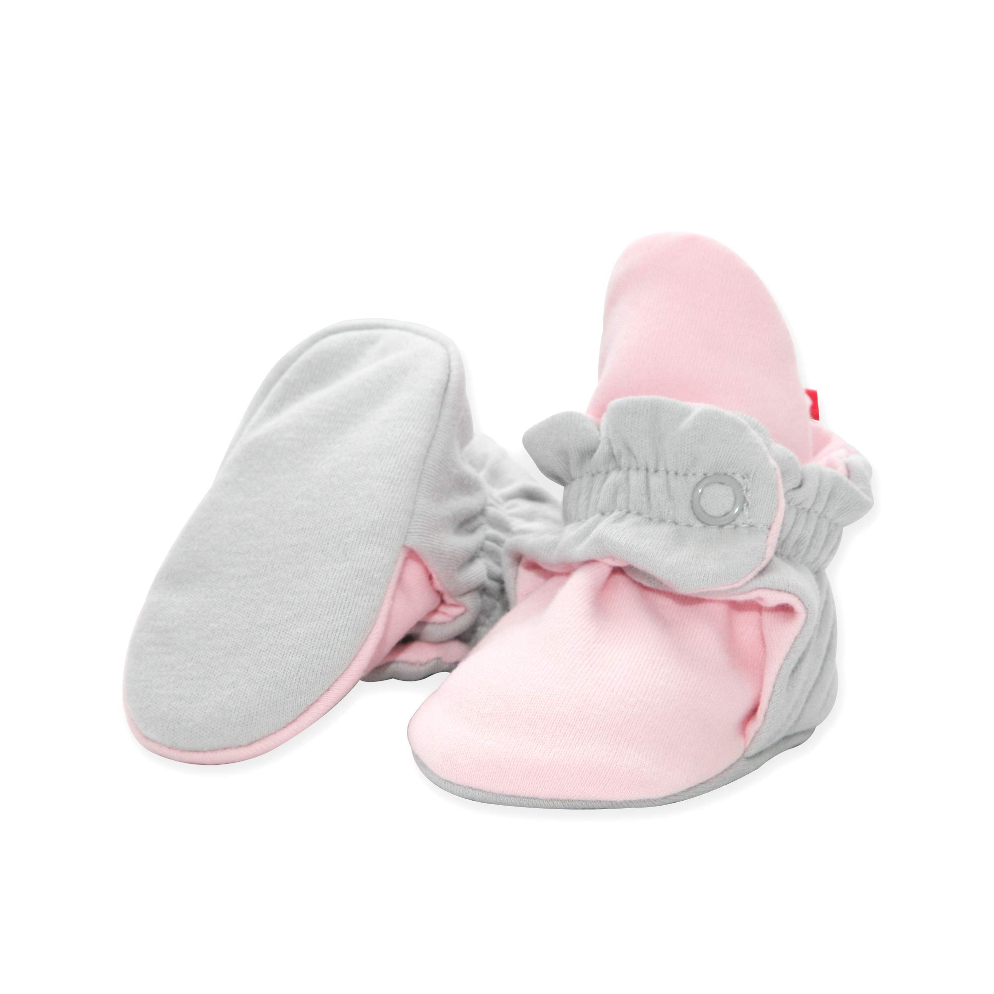 Zutano Organic Cotton Baby Booties with Organic Cotton Lining, Unisex, For Newborns, Infants, Babies, and Toddlers, Light Gray/Baby Pink, 6M-12M by Zutano