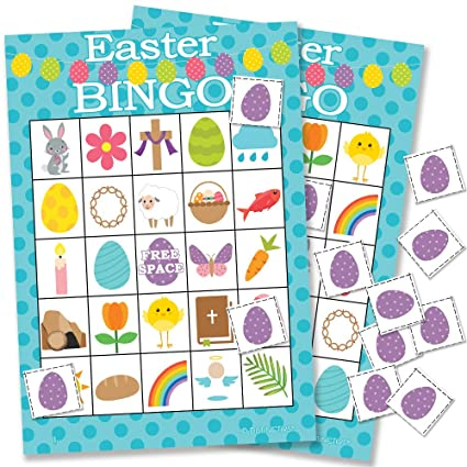 Amazon Com Easter Bingo Game For Kids 24 Players Kitchen Dining