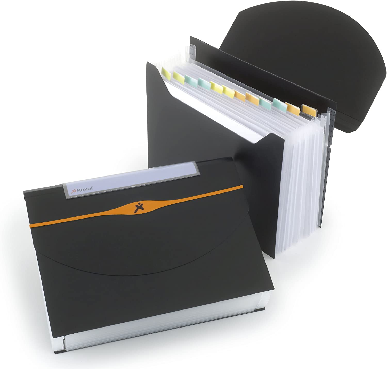 Carpeta fuelle OPTIMA negra 13 compartimentos color negro REXEL 2102483