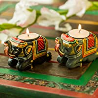 Exclusivelane Handmade & Hand-Painted Elephant Tea-Light Holder Set In Wood