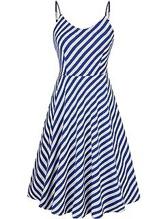 11d3c285e1504 Amazon.com: MisShow Women Striped 50s 60s Rockabilly Prom Party Gown ...