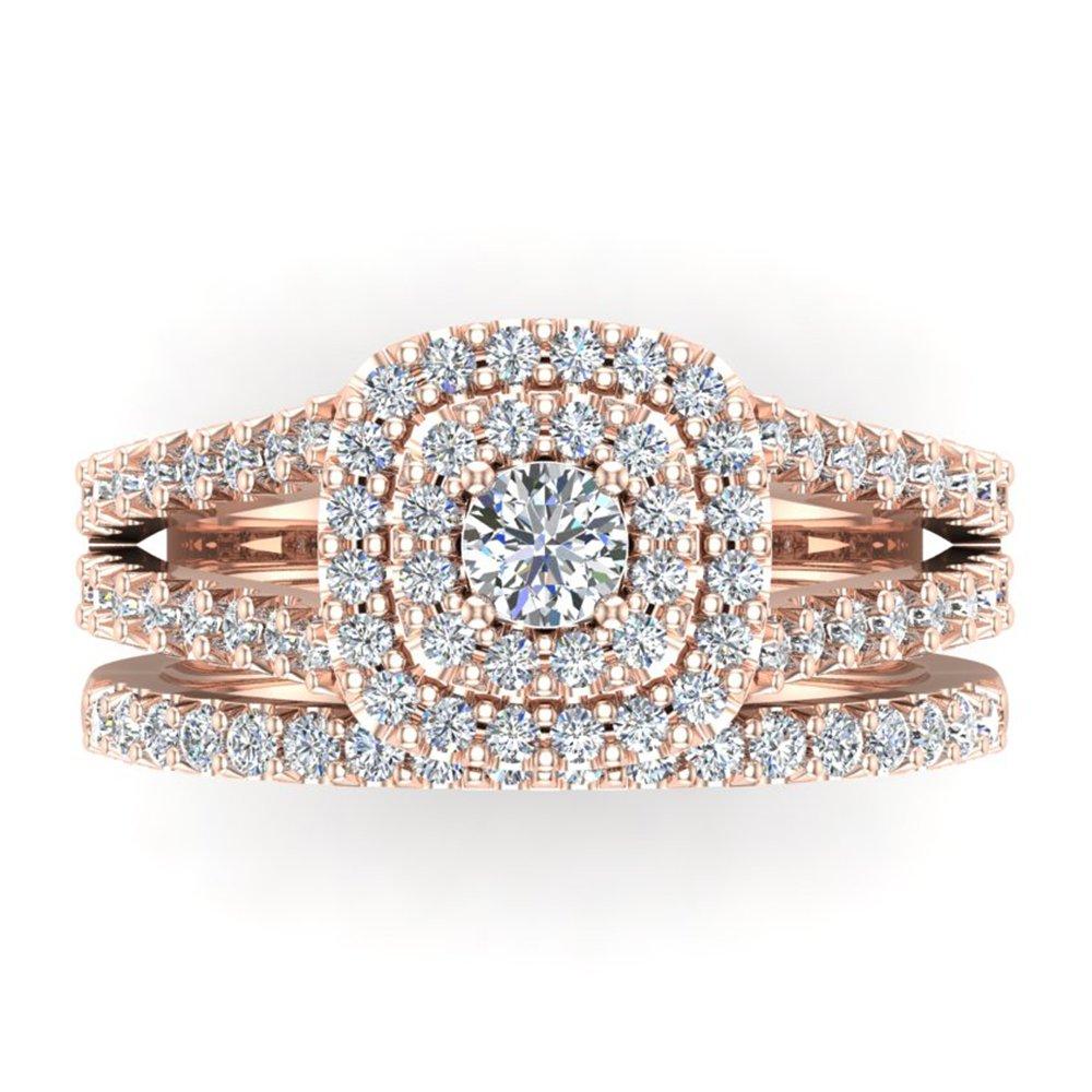 Cushion Shape Double Halo Split Shank Wedding Ring Set 1.10 Carat Total 18K Rose Gold (Ring Size 7.5) by Glitz Design (Image #4)