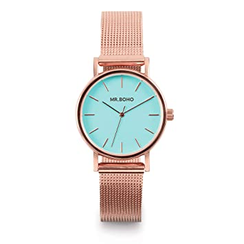 Reloj mr. boho 15m-cp6 mini aqua blue metalic co: Amazon.es ...