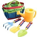 Kearui Kid's Garden Tool Set Children's Gardening Tools Set Gardening Tote Set Outdoor Beach Toy Set with Mini Hand Rake Shovel Tools, Watering Can Toy (5 Pieces)
