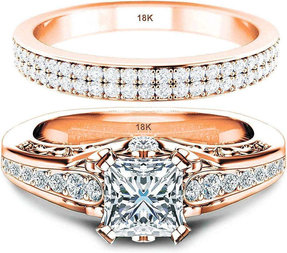 Amazon Com Wedding Ring Set Engagement 100 Solid Rose Gold 18k 6
