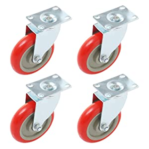 Online Best Service 4 pcs. Caster Wheels Swivel Plate On Red Polyurethane Wheels (5 inch - no Brake)