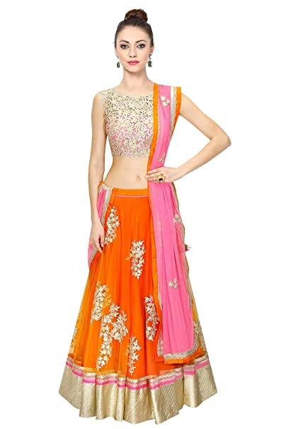 Pashimo Traditional Orange Color Net Semi Stitched Party Wear Ethnic