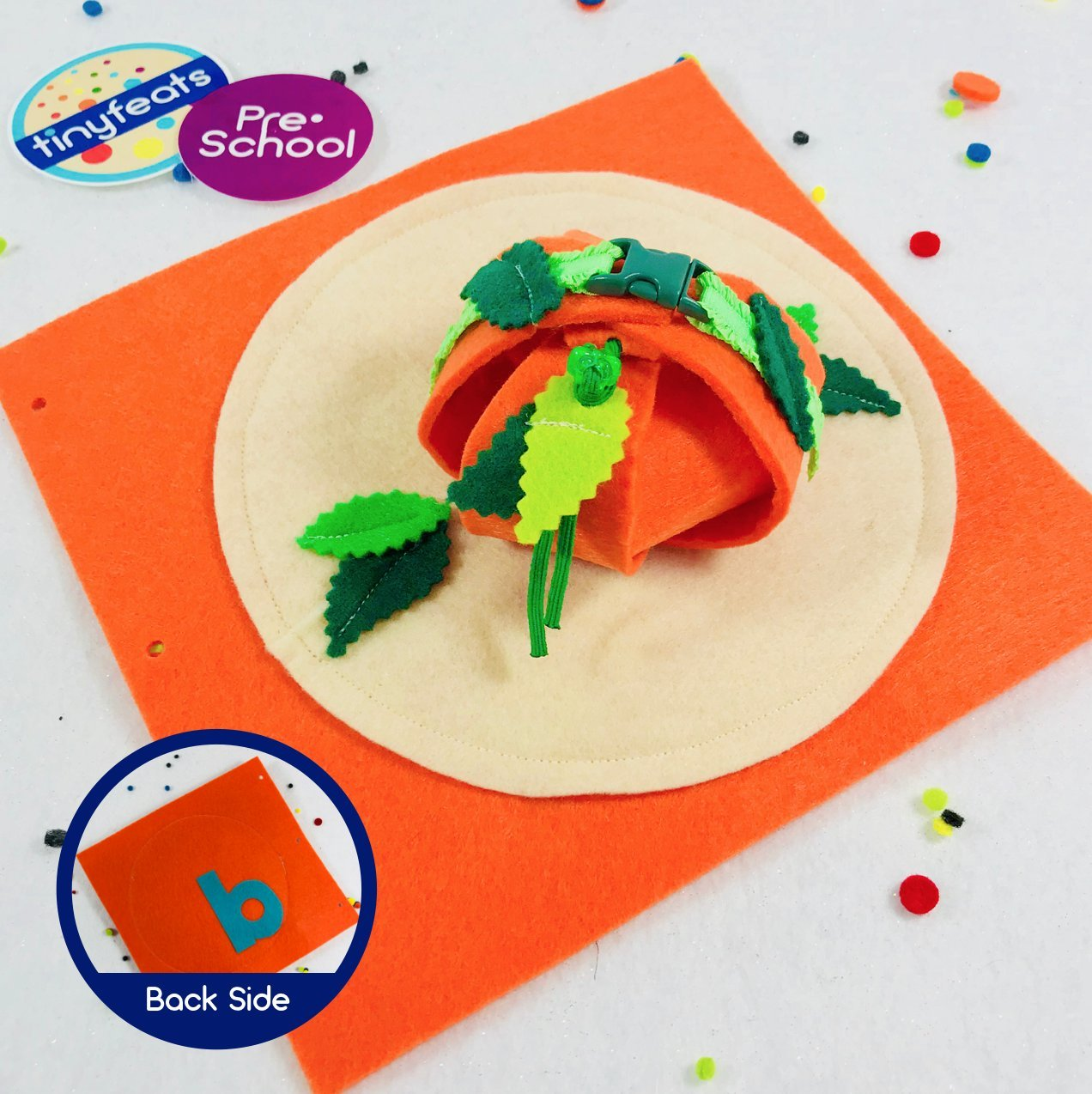 Pop Up Buckle Pumpkin Quiet Book Page for the TinyFeats Activity Book and Busy Box
