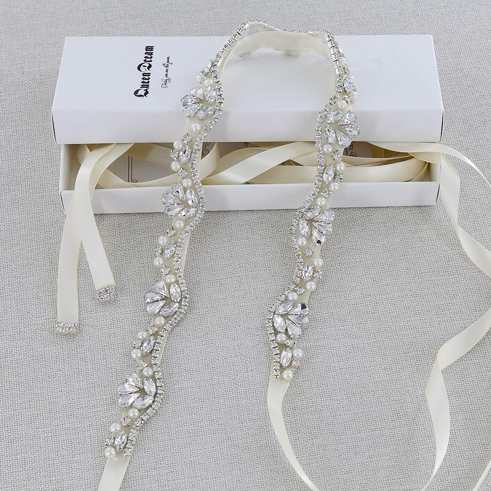 QueenDream Women's Crystal Diamond Bridal Belt Sashes Ivory Wedding Belts Sash for Wedding