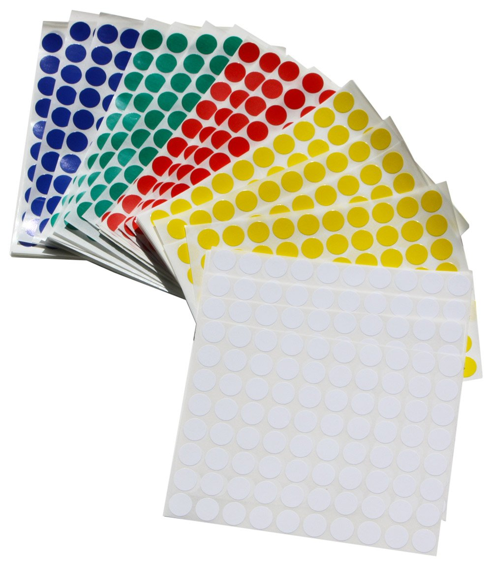 Color Coding Dot Stickers 1/2 Inch - 1200 Per Color Adhesive Dots Sticker, Blue, Green, White, Red, and Yellow 6000 PACK by Royal Green