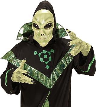 Máscara látex extraterrestre Careta alien con capucha y ojos ...