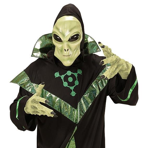 Careta alien Máscara látex extraterrestre con capucha y ojos Antifaz carnaval marciano Careta hombre de Marte Disfraz OVNI Fiesta temática espacio ...