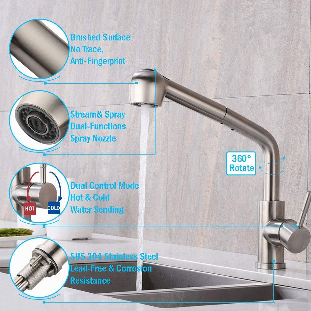 Amazon Com Pull Out Kitchen Faucet Wanjinli Single Lever Kitchen Sink Faucets With Pull Down Sprayer Faucet With 360 Rotate Spout Single Handle Stainless Steel Brushed Nickel Laundry Water Faucet Home Improvement