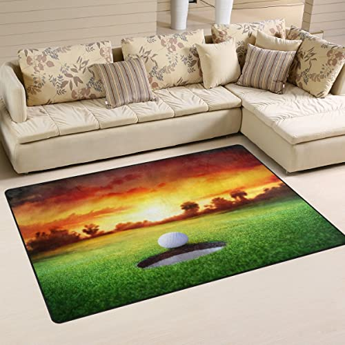WOZO Sport Golf Ball Sunset Area Rug Rugs Non-Slip Floor Mat Doormats Living Dining Room Bedroom Dorm 60 x 39 inches inches Home Decor