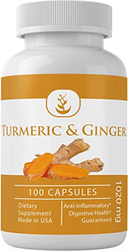 Turmeric Curcumin Ginger 100 Capsules, 1020 mg Serving by Pure Organic Ingredients, Herbal Supplement, Pain Relief, Anti-Inflammatory, Digestive Joint Health, Healthy Brain Function*