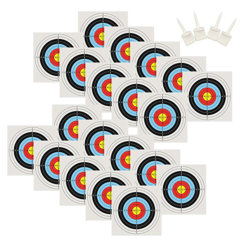 Lepeuxi 20 PZ Carta per tiro con LArco Target 50X50CM Foglio per Pratica Pratica Target con 4 perni in Carta per Target