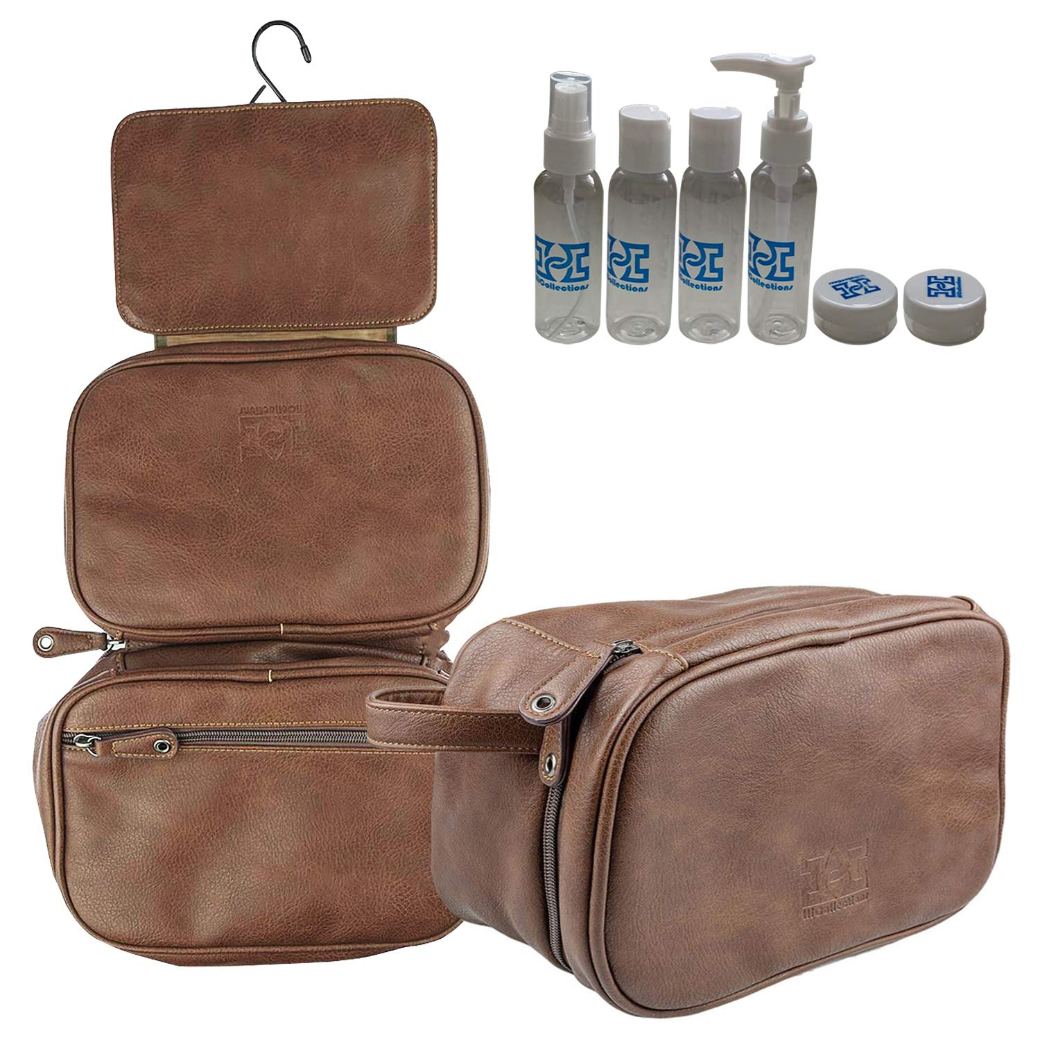 a68c8cef4130 HiCollections Mens Hanging Toiletry Bag, 3 Large Compartments, Waterproof  and Easy Foldable PU Leather Wash Bag for Men with Strong Hook, Bonus 4  Pics ...