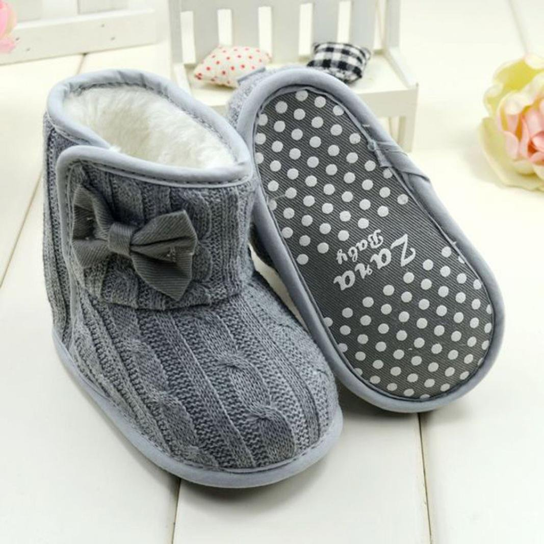 Amiley Baby Bowknot Knitted Wool Soft Sole Snow Boots Crib Shoes Toddler Bootie