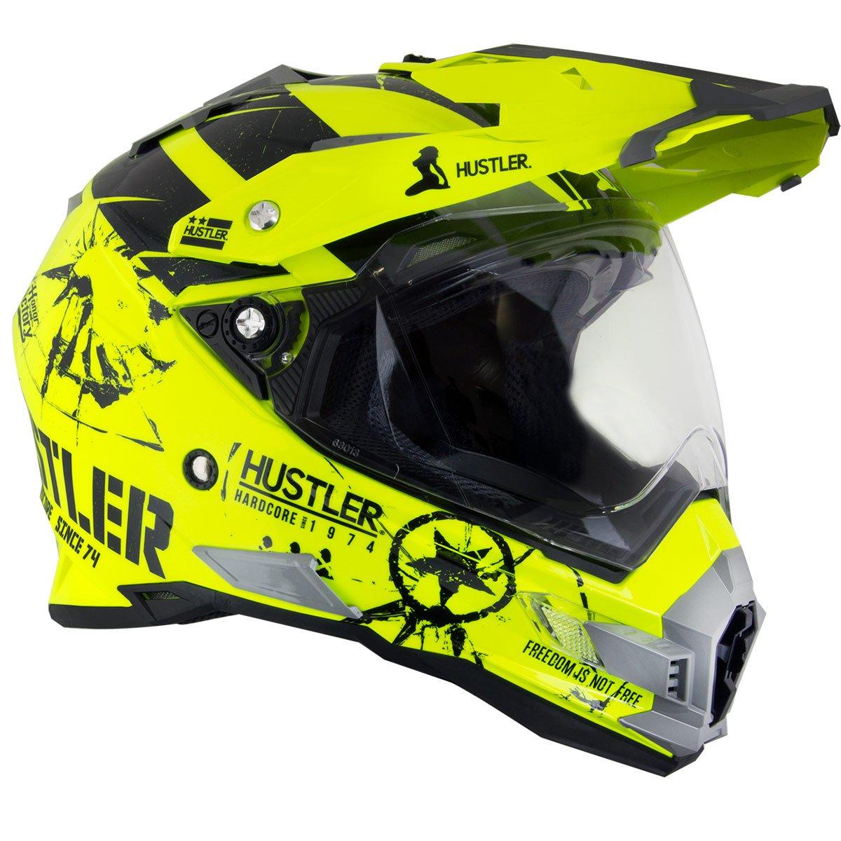 Hustler Hardcore Since 1974 Dual Sport High-Viz Neon Motorcycle Helmet - X-Large