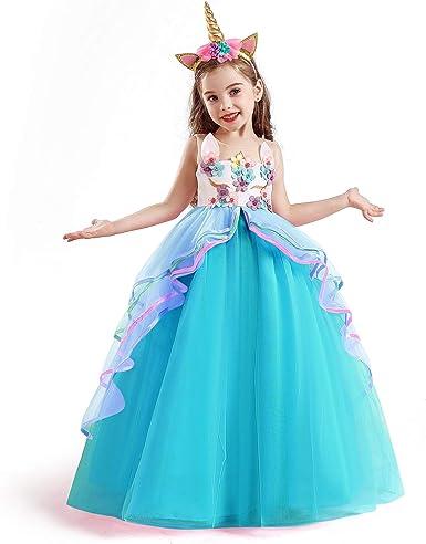 Licorne Fleur Fille Robe Kid Princess Fête Anniversaire Fancy Cosplay costume Robe