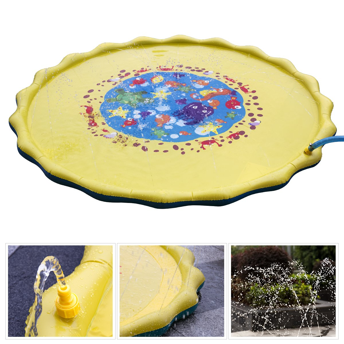 Splash Play Mat, 68in-Diameter Perfect Inflatable Outdoor Sprinkler Pad Summer Fun Backyard Play for Infants Toddlers and Kids by DAPRIL (Image #5)