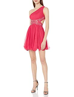 Blondie Nites Juniors Strapless Swiss-Dot Fit-and-Flare Dress