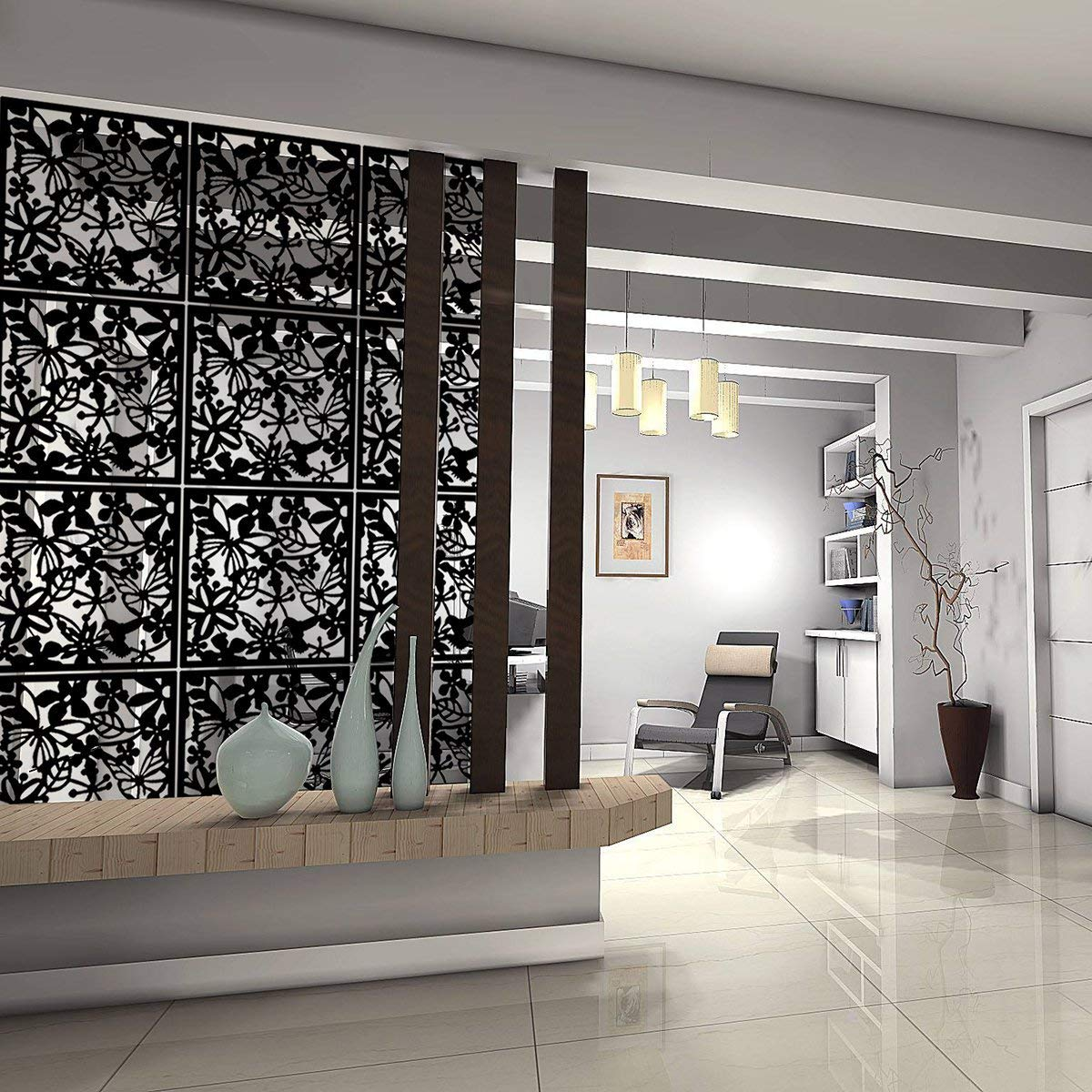 Kernorv Hanging Room Divider Made of Environmentally PVC, 12 PCS Partitions Panel Screen for Decorating Bedroom, Dining, Study and Sitting-Room, Hotel, Bar and Restaurant. (12, Black) by Kernorv