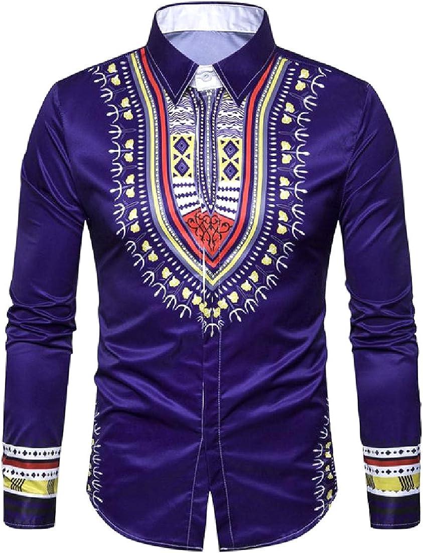 YUSKYMen Twill African Dashiki Oversized Point Collar Long Shirt