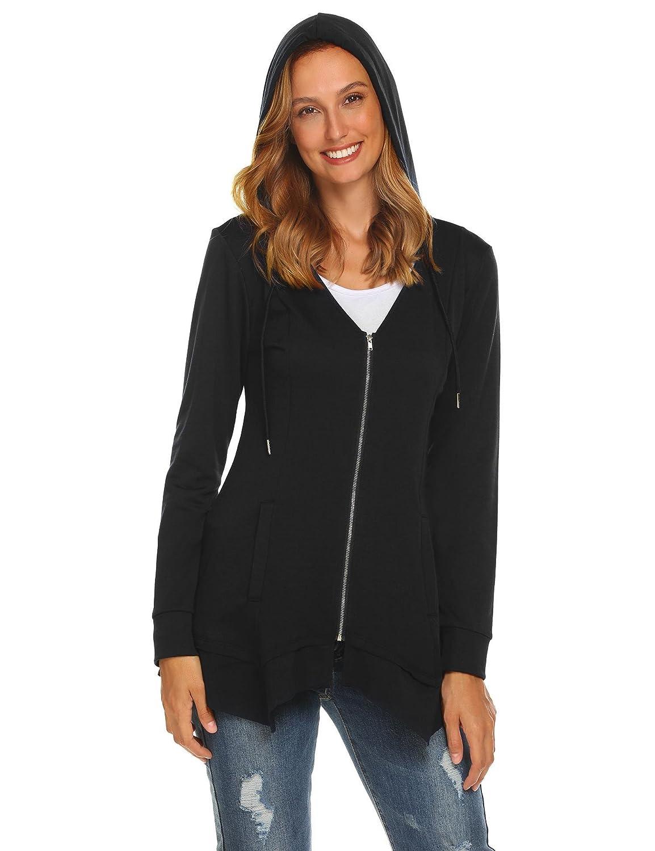 e4e8ae9b Amazon.com: ELESOL Women's Solid Hooded Zip-up Hoodie Jacket Coat Black, S:  Clothing