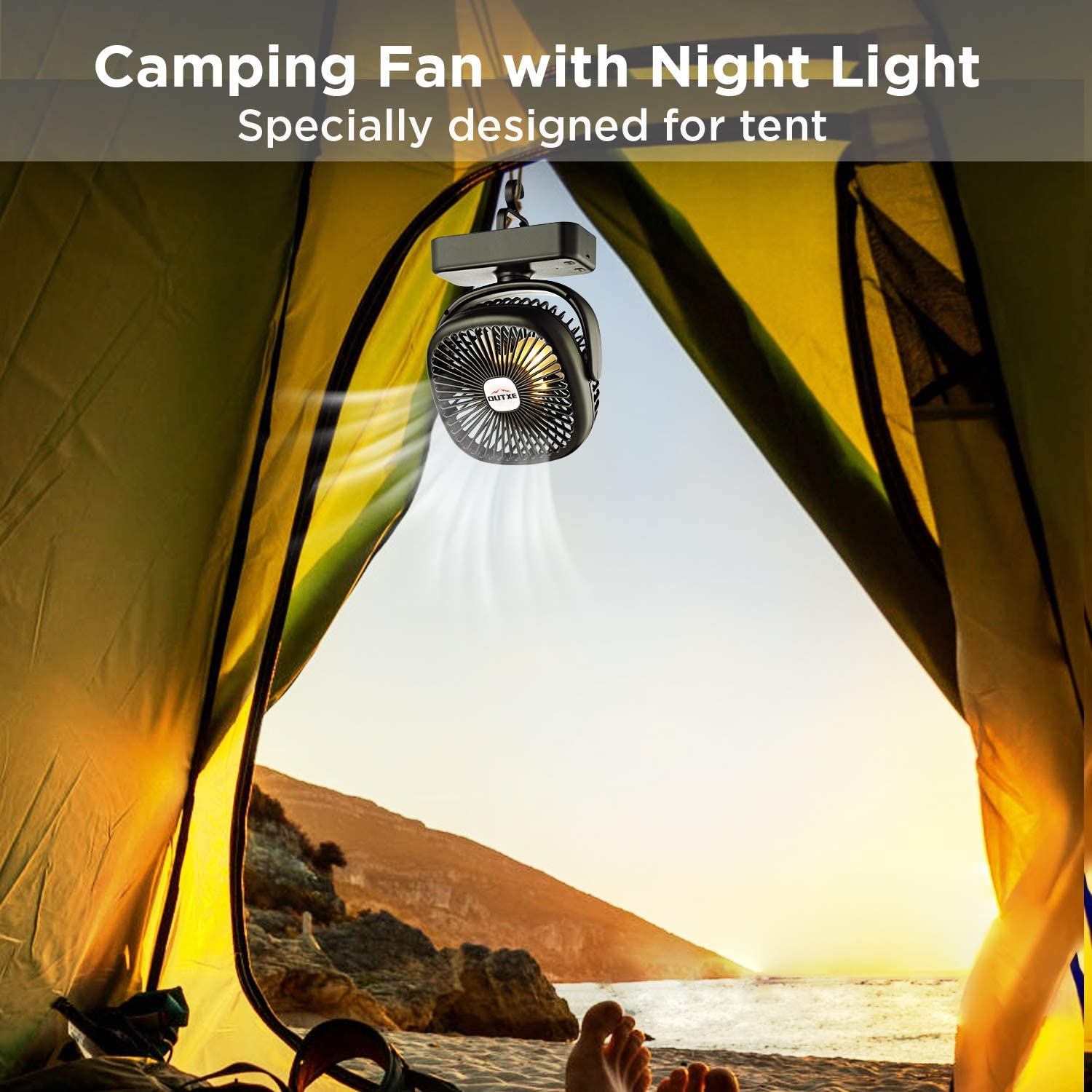 OUTXE Camping Fan with Night Lights 4400mAh 5200mAh USB Rechargeable Tent Fan Portable USB Camping Fan Persona Fan