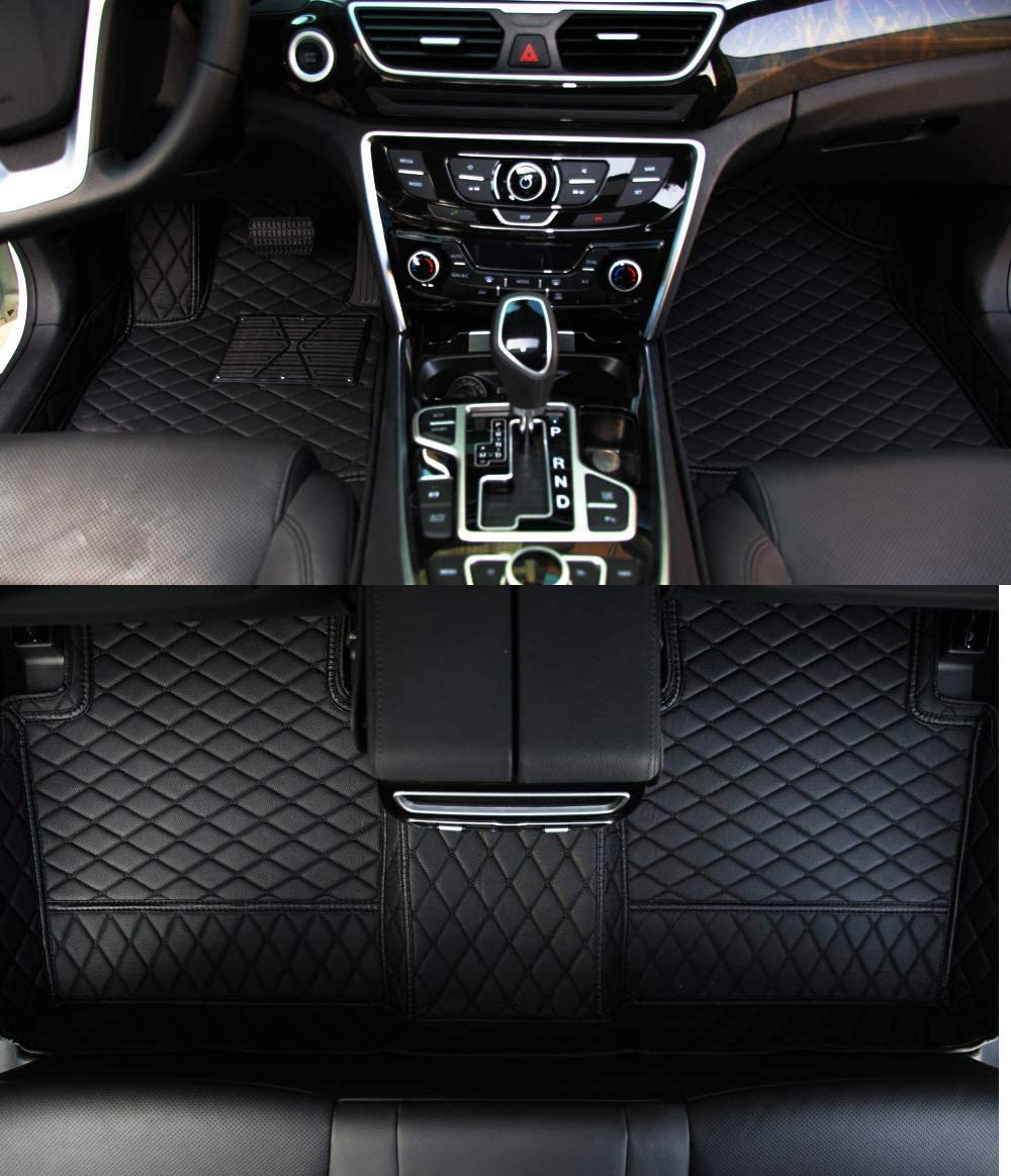 Worth-Mats All Weather Luxury XPE Leather Waterproof Custom Fits Floor Mats for Alfa Romeo Stelvio (Black with Black Stitching)