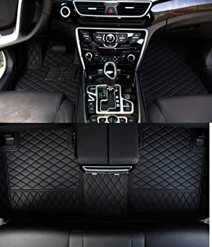 Black Custom Car Floor Mat Front /& Rear Liner 8 Colors with Gold Lines for Infiniti Q50