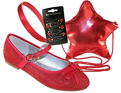 6ea202d5db1 The Sparkle Club Girls red sparkly glitter party ballerina shoes with red  overbody star bag and