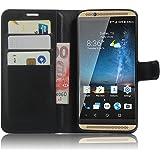 SMTR ZTE AXON 7 Coque PU Cuir Flip Housse Étui Cover Case Wallet Portefeuille Supporter avec Carte de Crédit Fentes pour ZTE AXON 7 -Noir