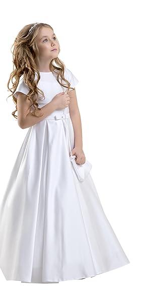 Vestido Corto Primera Comunion Dama Honor Falda de Saten con Lazo de Saten CD-18