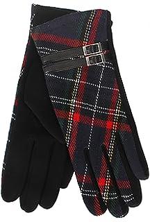 Women Ladies Winter Warm Thick Fleece Lined Thermal Pom Check Tartan Gloves