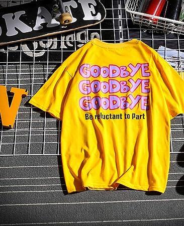 Hombres Carta Camiseta,Unisexo Algodón Manga Corta,Suelto Talla Grande Camiseta Absorber el Sudor/amarillo/Xl: Amazon.es: Bricolaje y herramientas