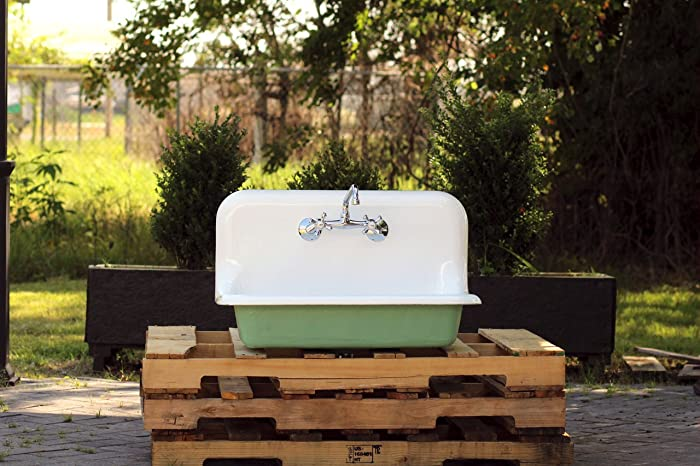 30u0026quot; Refinished Antique High Back Farm Sink Small 1925 Cast Iron  Porcelain Wall Mount Kitchen