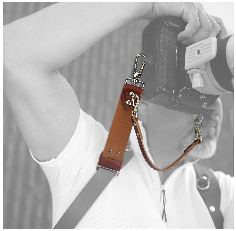Republic Leather Company - Credesdale Pro- 手作りカメラスライダー - 拡張リーチ、垂直撮影 - RLハンドクラフト。 DLSR、ミラーレス、ポイント&シュート アメリカ製 - タン B07H9FGM2D タン Medium