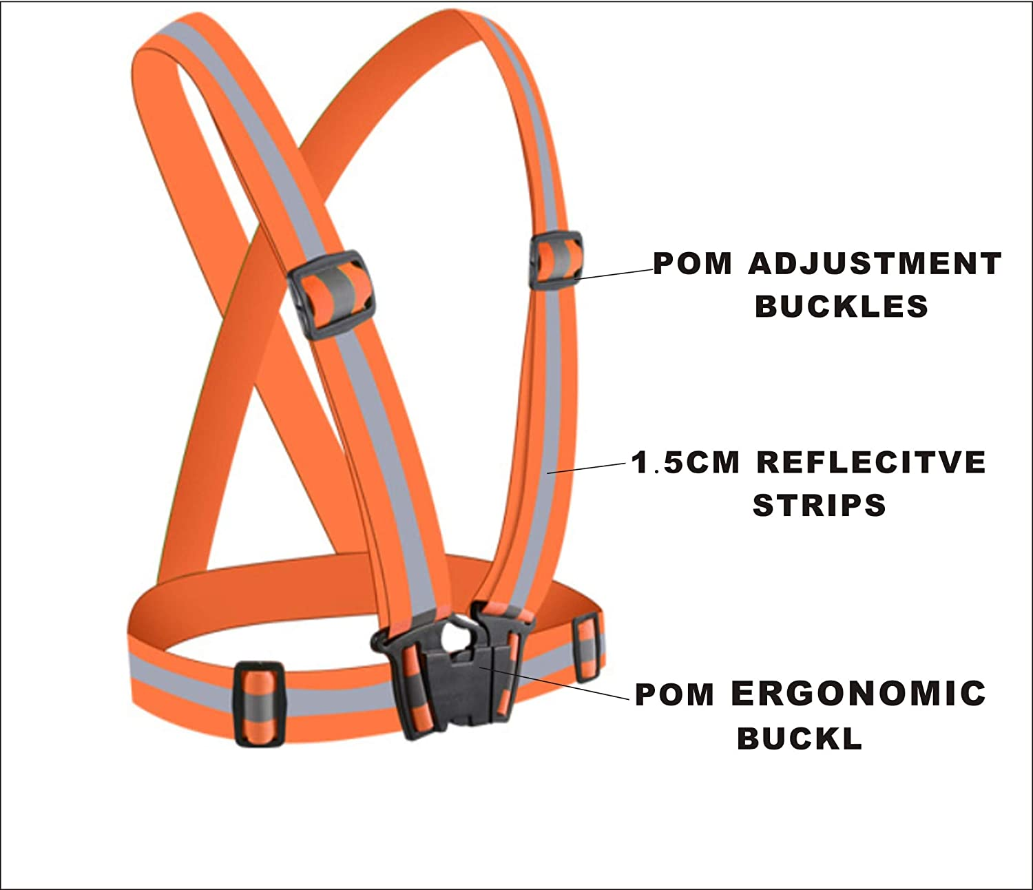 Reflective Straps Night Running Vest with Adjustable Strap & Breathable Holes with 360° High Visibility for Biking Walking Running 2 Pack