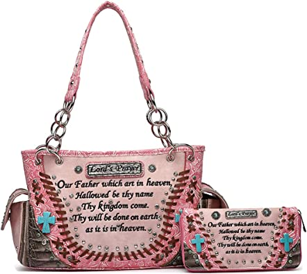 Embroidery Bible Verse Tooled Leather Concealed Carry Purse Women Handbag Wallet
