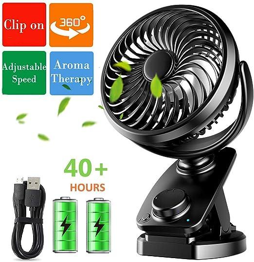 360 ° MINI USB Ventilateur Rechargeable Oscillant Clip On Desk poussette FR